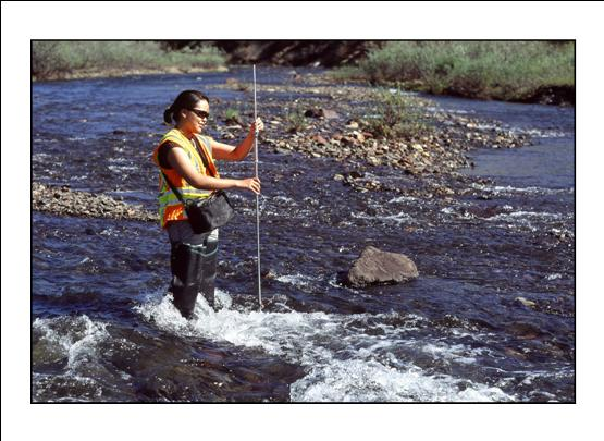 Geologist in stream